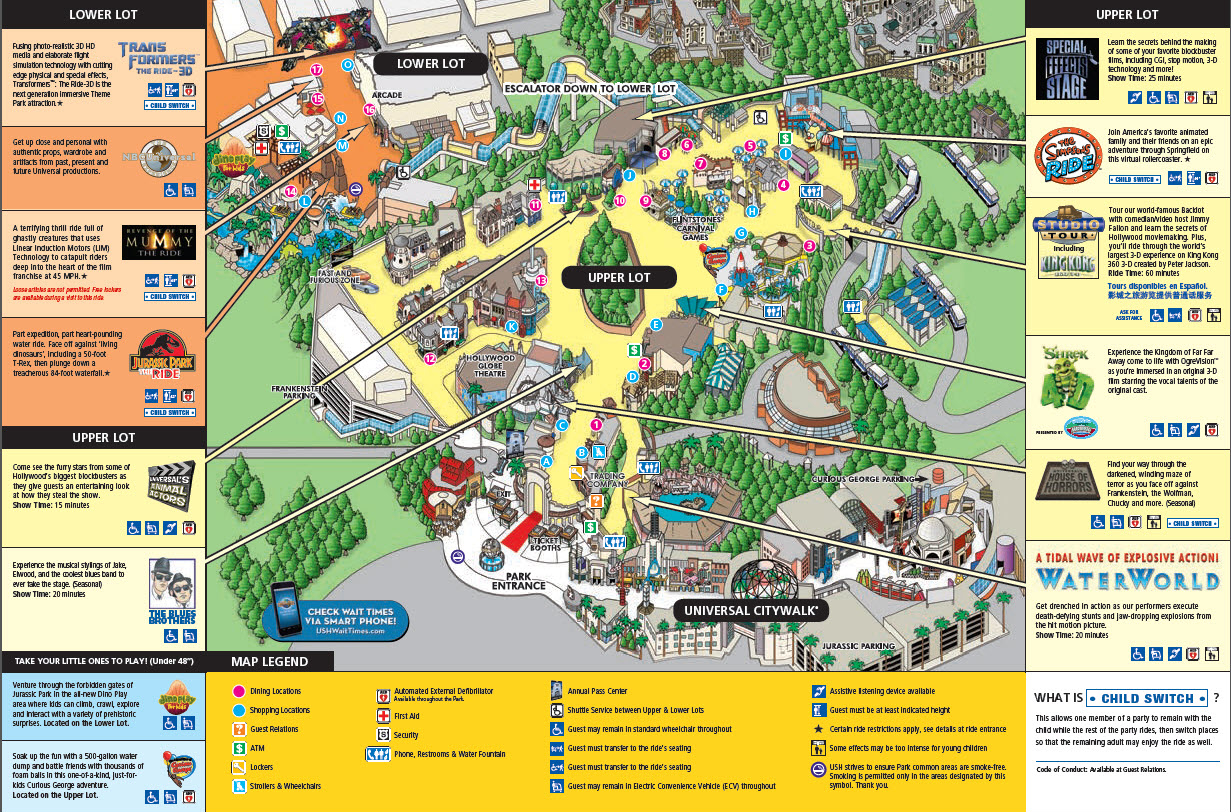 Universal Studio Hollywood Map Universal Studios Hollywood