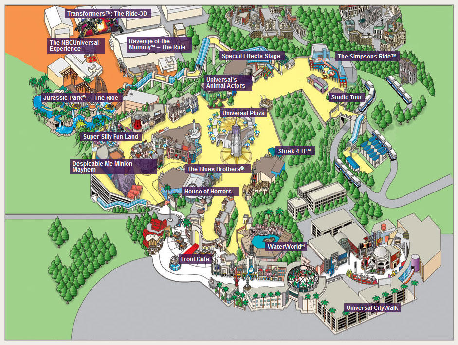 Universal Studios Hollywood 2014 Map
