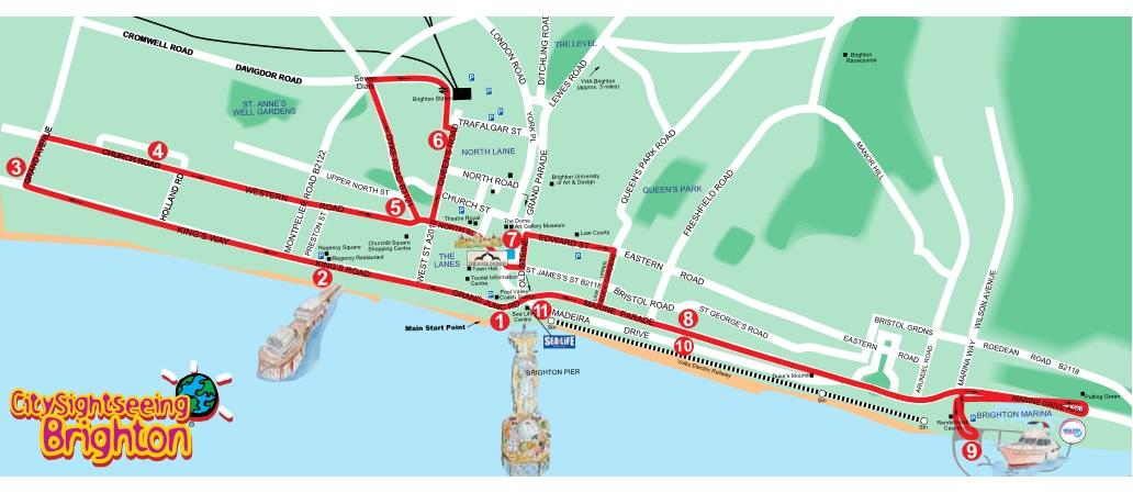 Brighton City Sightseeing HopOn HopOff Tour 1 or 2Day Pass in