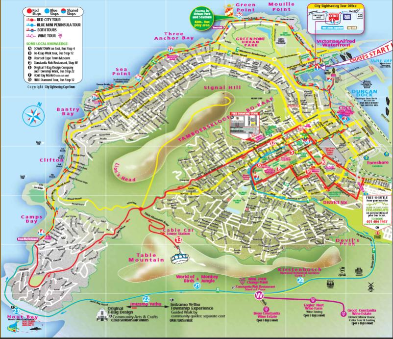 Map of City Sightseeing Cape Town Hop-On Hop-Off Tour