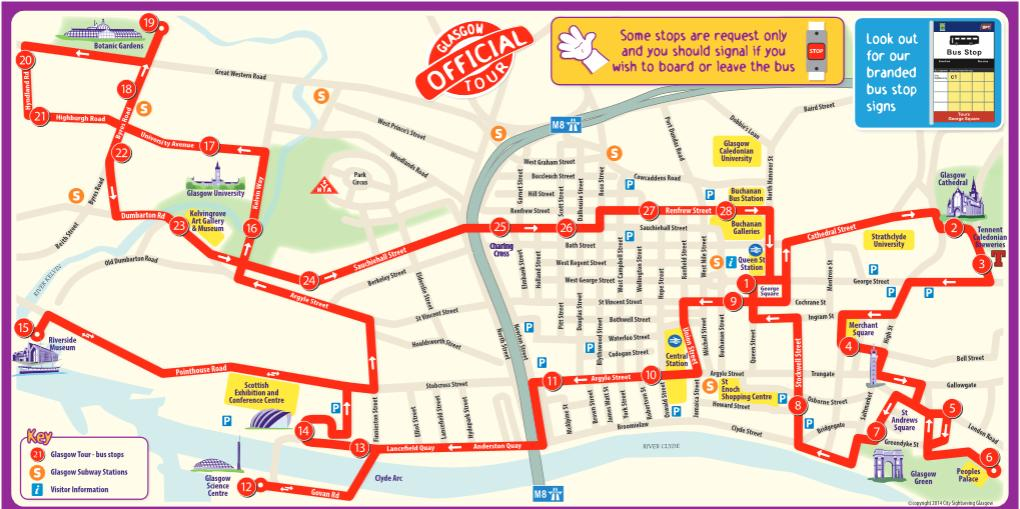 City Sightseeing Glasgow HopOn HopOff Tour in Glasgow Scotland – Tourist Map Glasgow