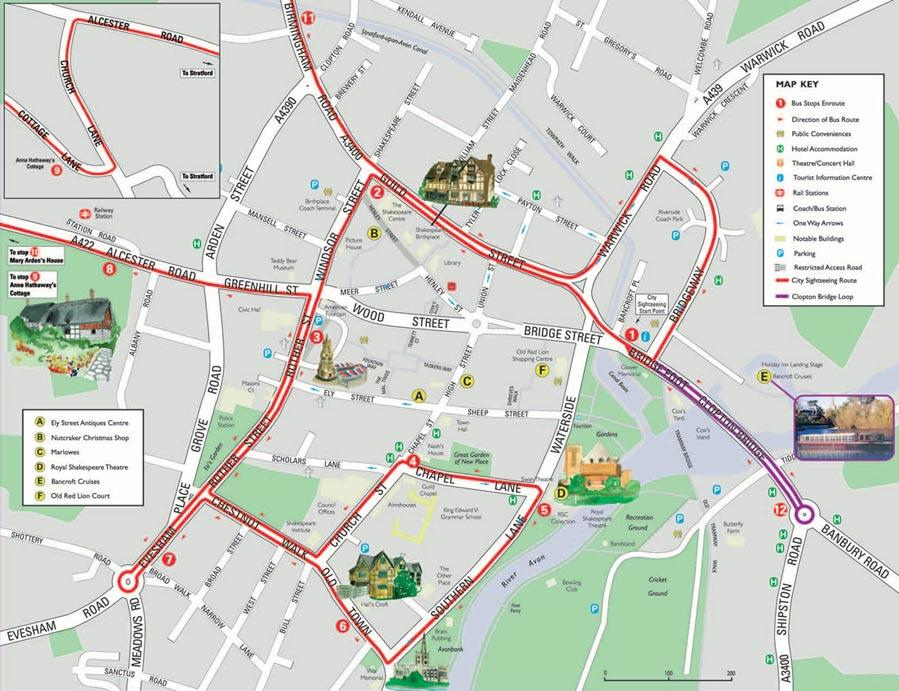 Map of City Sightseeing Stratford-upon-Avon Hop-On Hop-Off Tour