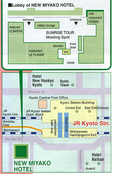 Map of Kyoto Tour with Heian Shrine, Sanjusangendo, Kiyomizu Temple