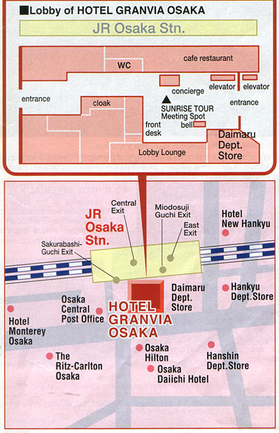 Map of Nijo Castle, Golden Pavilion, Sanjusangen-do Tour from Osaka