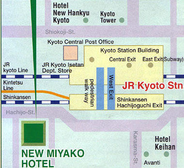 Map of Kyoto in One Day Tour with Nijo Castle and Kiyomizu Temple