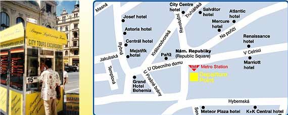 Map of Prague in One Day Sightseeing Tour