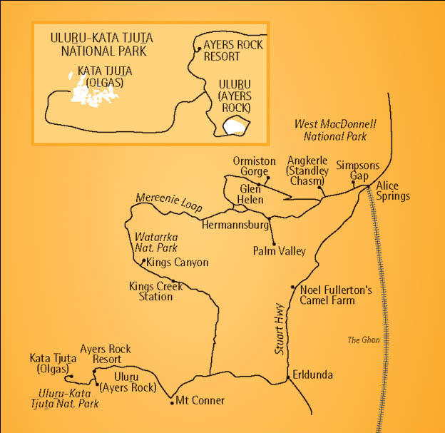 Map of 2-Day Uluru (Ayers Rock) to Alice Springs Red Centre Explorer Tour