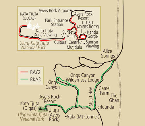 Map of 3-Day Tour from Uluru (Ayers Rock) to Alice Springs via Kings Canyon