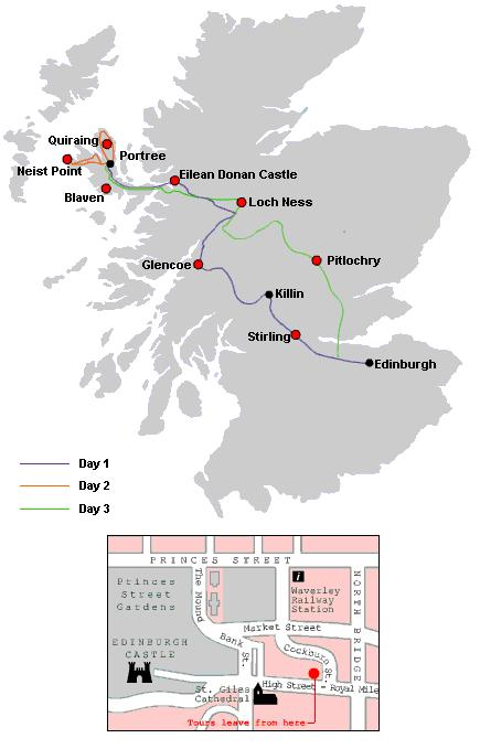 Map of 3-Day Isle of Skye Small-Group Tour from Edinburgh