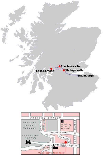 Map of Stirling Castle and Loch Lomond Small Group Day Trip from Edinburgh