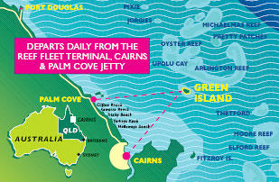 Map of Green Island Day Trip from Cairns