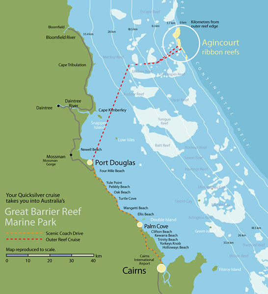Map of Quicksilver Outer Great Barrier Reef Snorkel Cruise from Port Douglas
