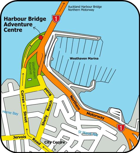 Map of Auckland Harbour Bridge Bungy Jump