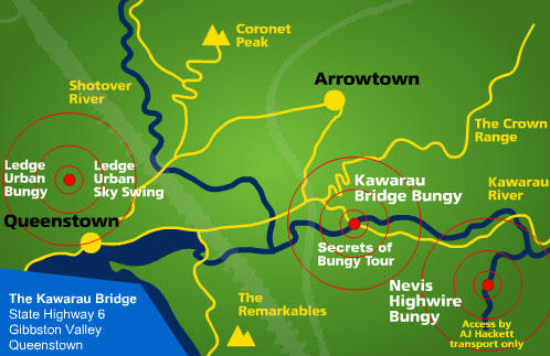 Map of Queenstown Nevis Highwire Bungy Jump