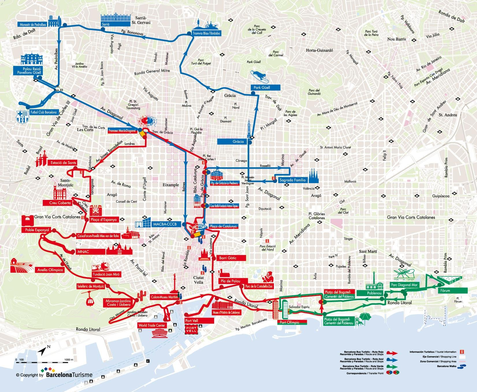 Map of Barcelona Hop-on Hop Off Tour: North to South Route
