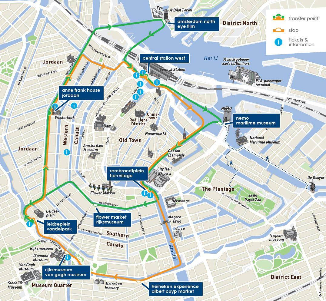 Map of Amsterdam Canal Bus Hop-On Hop-Off