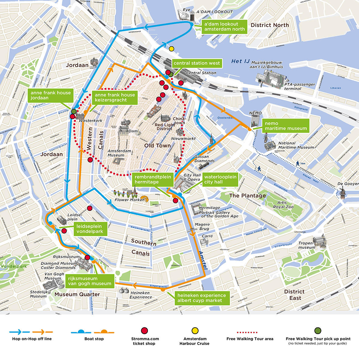 Map of Van Gogh Museum Entrance Ticket and Amsterdam Hop-On Hop-Off Boat Day Pass