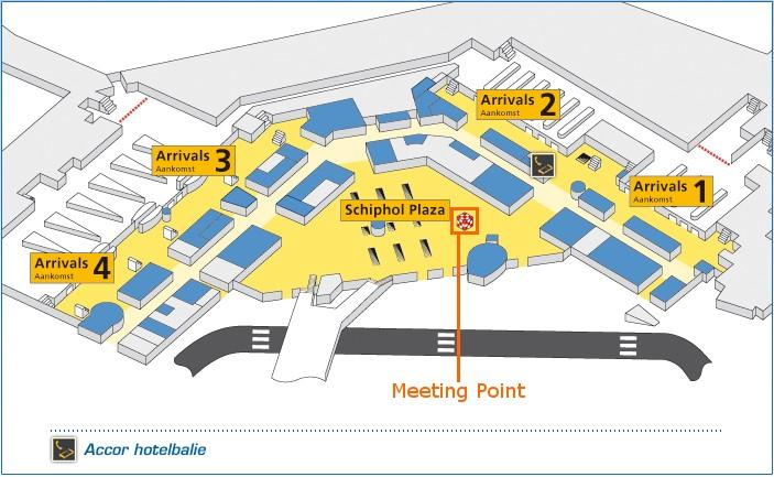 Map of Amsterdam Airport Shared Arrival Transfer