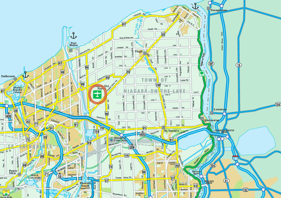 Map of Niagara Falls and Winery Helicopter Tour