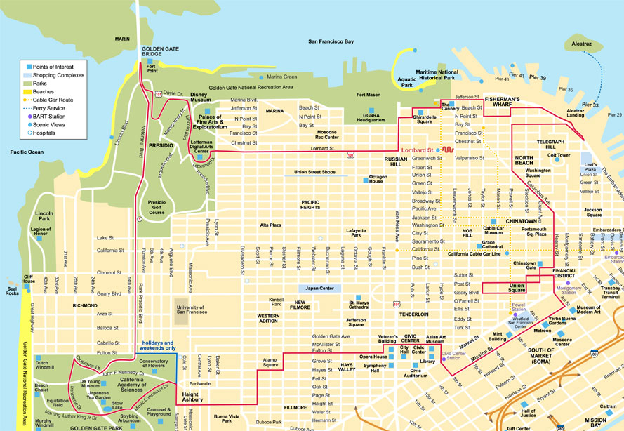 San francisco city map tourist