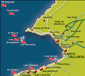 Map of Dedicated Dives for Certified Divers from Puerto Vallarta