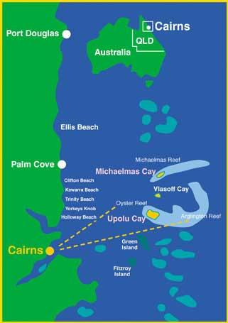 Map of Michaelmas Cay Dive and Snorkel Cruise from Palm Cove
