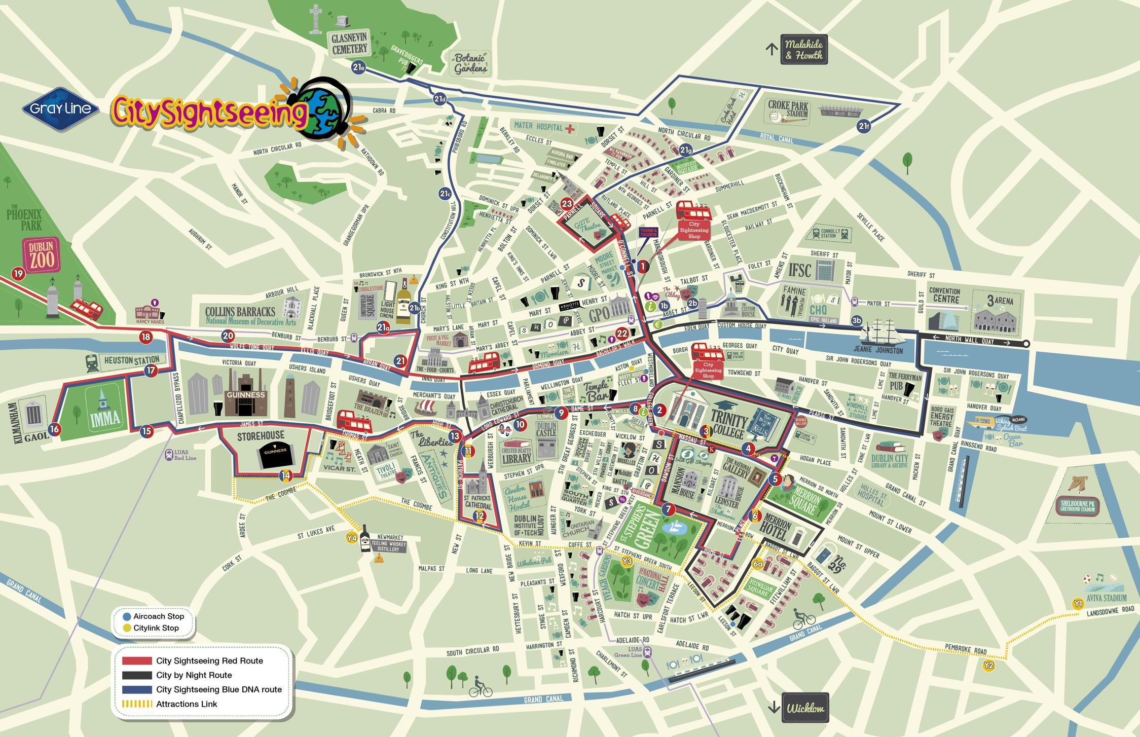Dublin City Sightseeing HopOn HopOff 1 or 2Day Bus Tour in