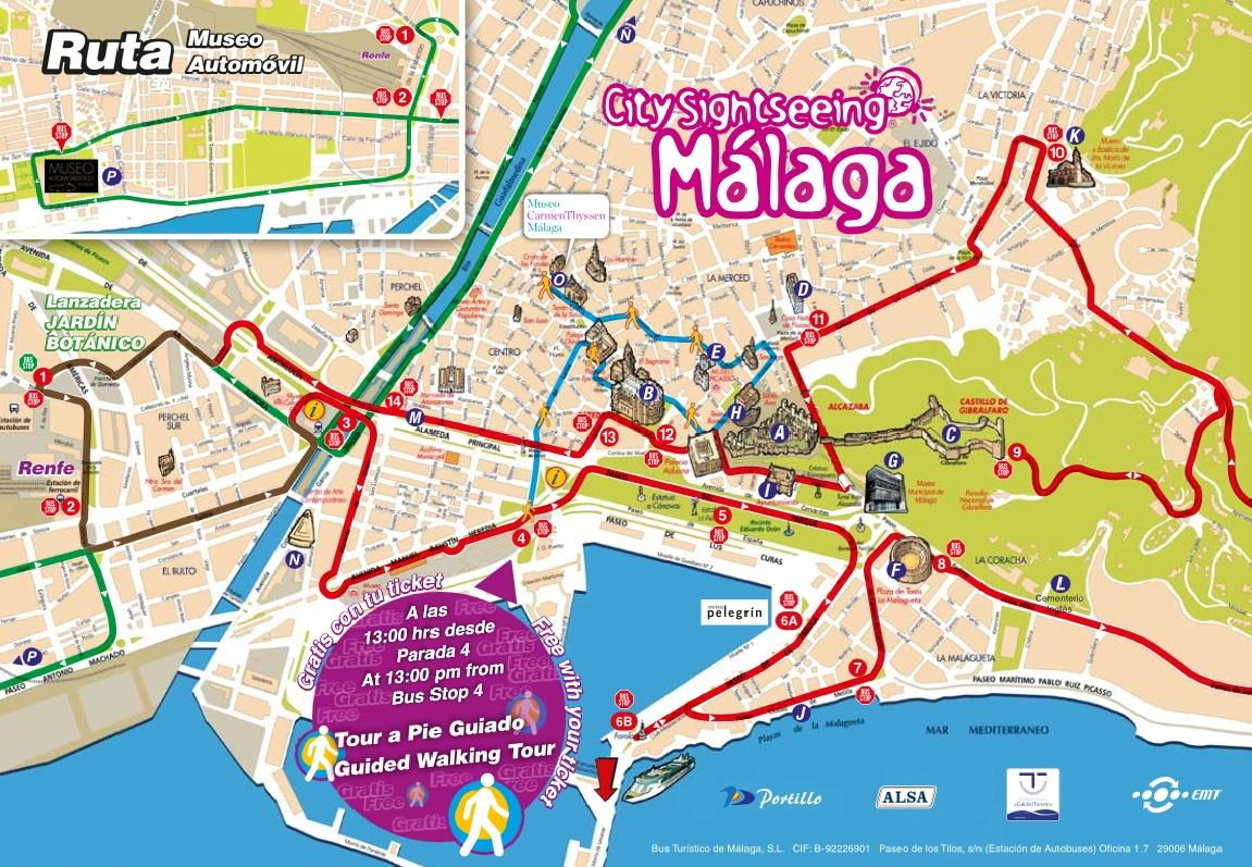 Malaga HopOn HopOff Bus Tour with 1Hour Guided Walk Option in