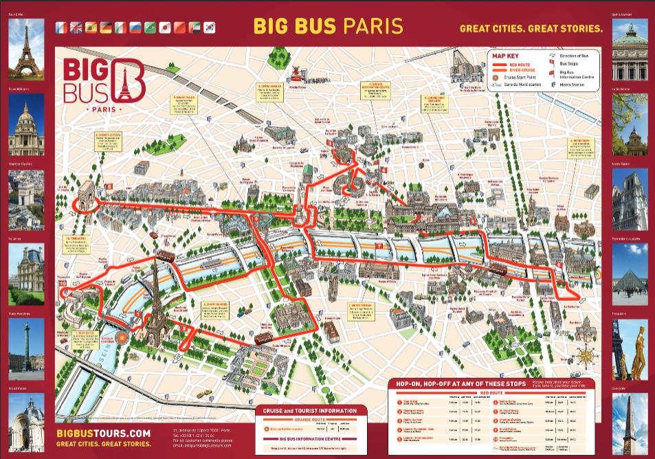 Map of City Sightseeing Paris Hop-On Hop-Off Tour