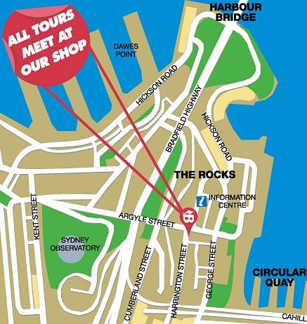 Map of Sydney Bike Tours