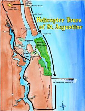 Map of St. Augustine Beach and Old Downtown Helicopter Tour