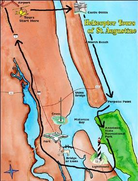 Map of St. Augustine, Porpoise Point and Old Downtown Helicopter Tour