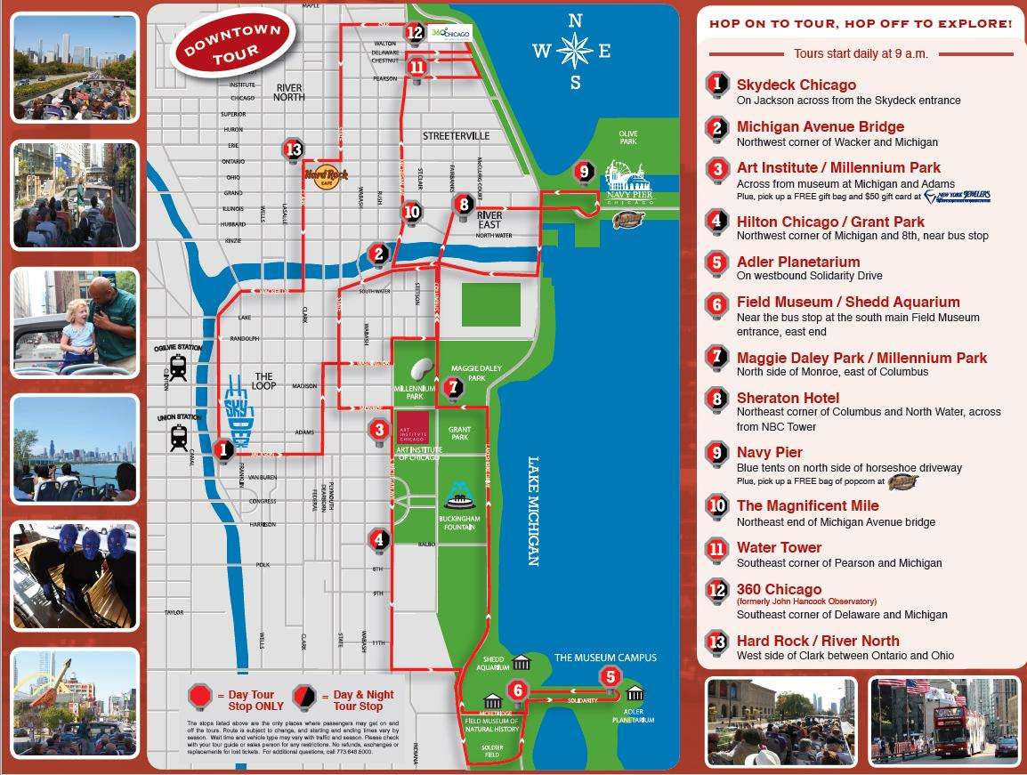 Map of Chicago City Hop-on Hop-off Tour