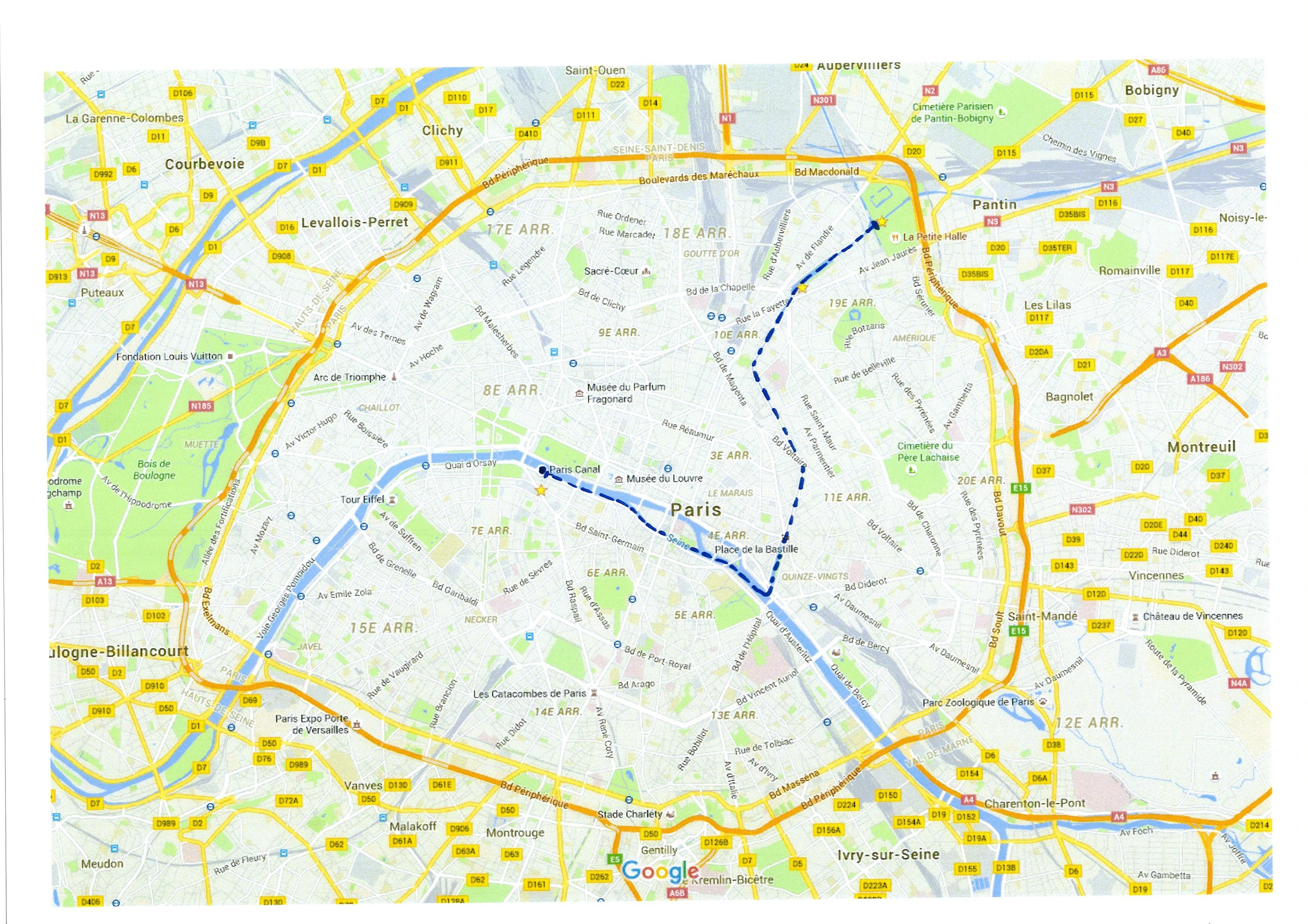 Map of Seine River Cruise and Paris Canals Tour