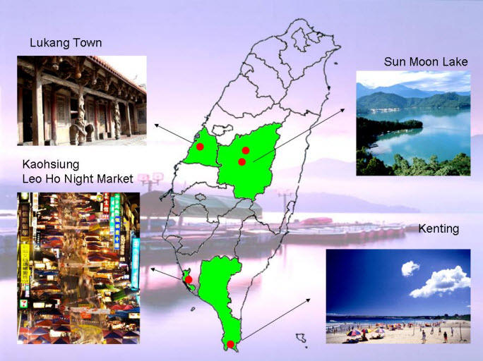 Map of 4-Day Tour of Central and Southern Taiwan from Taipei Including Kaohsiung and Sun Moon Lake