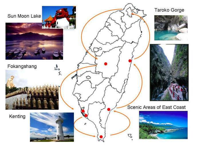 Map of 5-Day Best of Taiwan Tour from Taipei: Sun Moon Lake, Taroko Gorge, Kaohsiung and Taitung