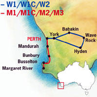 Map of Wave Rock, York, Flowers, Aboriginal Culture Tour from Perth