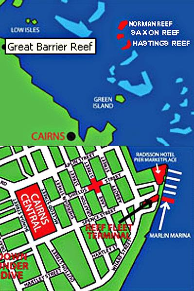 Map of Great Barrier Reef Diving and Snorkeling Cruise from Cairns