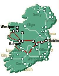 Map of 2-Day Cliffs of Moher, Connemara and Galway Bay Rail Tour from Dublin
