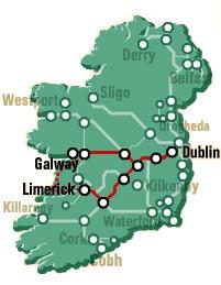 Map of Limerick, Cliffs of Moher and Galway Bay Rail Tour