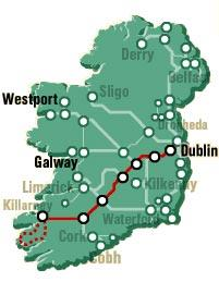 Map of Ring of Kerry Rail Trip from Dublin