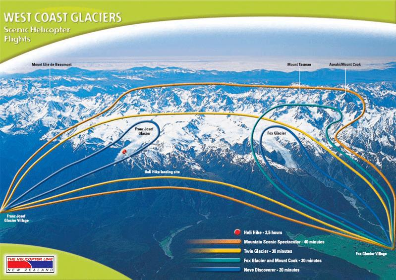 Map of Fox Glacier Neve Discoverer Helicopter Flight