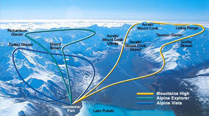 Map of Mount Cook Mountains High Helicopter Flight