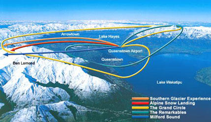 Map of Remarkables Mountain Range Helicopter Flight from Queenstown