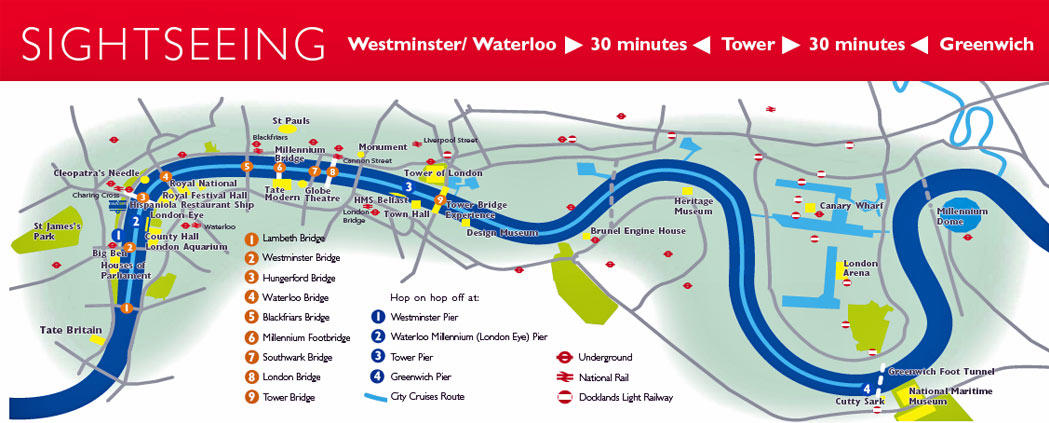 Map of Tower of London and Thames River Sightseeing Cruise