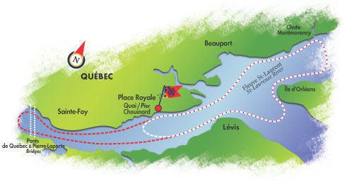 Map of Quebec City Dinner Cruise