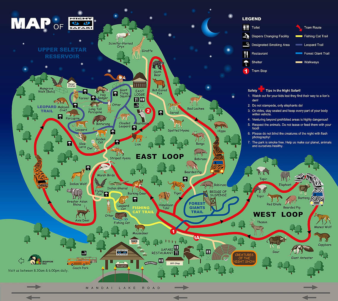 Map of Singapore Zoo Night Safari Skip-the-Line with Buffet Dinner
