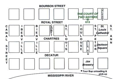Map of Jazz Brunch Buffet in New Orleans