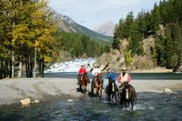 Covered Wagon or Horseback Ride in Banff with Western Cookout