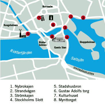 Map of Stockholm in One Day Sightseeing Tour